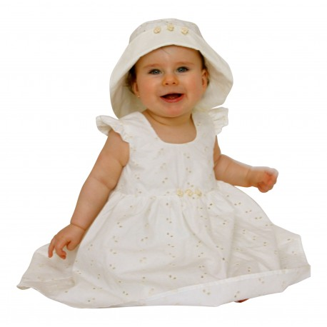 COTTON EMBROIDERED BABY DRESS  AND HAT - IVORY